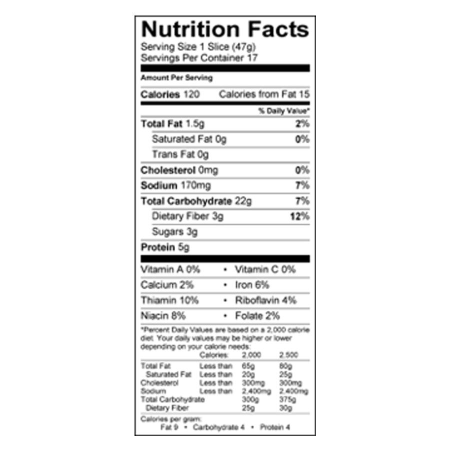 Organic 100% Whole Wheat Bread Frozen 28 oz