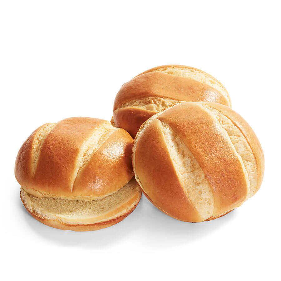 Two Split Brioche Hamburger Roll